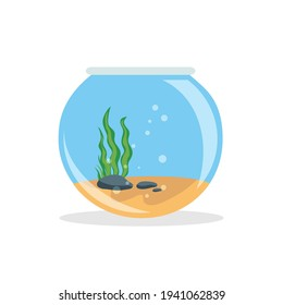 Empty fishbowl with water isolated on white background. Fishbowl aquarium in flat style. Vector stock