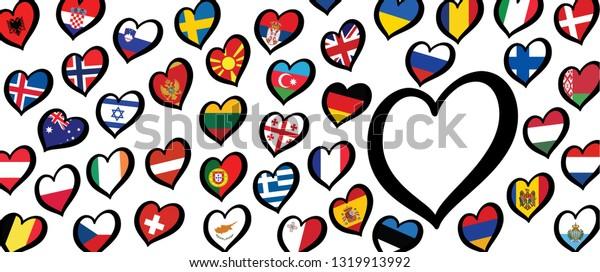 Tema de Rotterdam Festival de la Canción Abierta Festival de la Eurocopa Festival de Eurovisión 2020 Holanda Banderas holandesas Divertidas Música Musical corazón de amor Logo signos países vector país