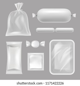 Empty food packages. Vector realistic pictures of polyethylene packages. Illustration of polyethylene realistic for food, container for candy and condom