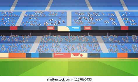 empty football stadium field arena filled tribunes before start match flat horizontal vector illustration