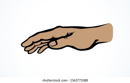 Empty forearm stretch help on white space for text. Lord show care pictogram. Muslim concept line logo. Outline black drawn old monk fold body emblem in retro art doodle cartoon style. Closeup view