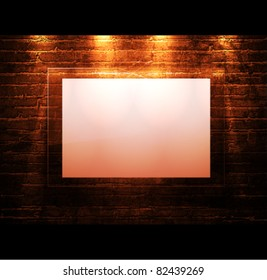 empty frame on brick - wall