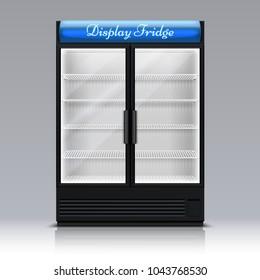 Empty freezer for beverages with glass door. Supermarket food fridge 3d vector illustration. Freezer and refrigerator for beverage drink supermarket