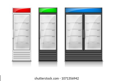 Empty fridge glass sliding doors. Modern Supermarket commercial freezer equipment template. Refrigerator freeze equipment for drinks and food. Vector illustration