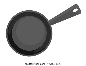 Empty frying pan, top view. Flat vector illustration isolated on white background.