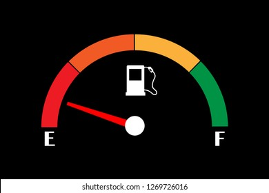 Empty fuel meter isolated on black background. Gas tank gauge. Oil level bar. Vector illustration flat design.