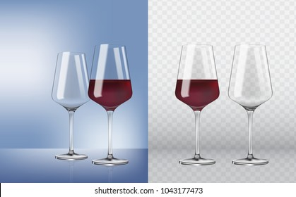 Empty and full. 3d realism, vector icon. Set transparent vector wineglass empty, with red wine on transparent background. Vector realistic wineglass empty and with red wine.