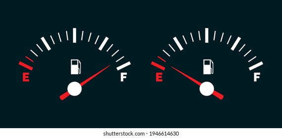 Empty and full fuel tank. Car gasoline indicator dial with null petrol gage vector illustration