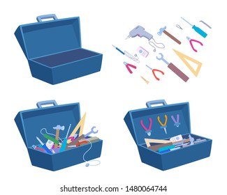 Empty and full open toolbox. Instruments separately. Vector cartoon illustration isolated on white.
