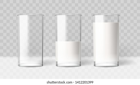 Empty And Full Realistic Transparent Milk In A Glass. Diet Drink Product. EPS10 Vector