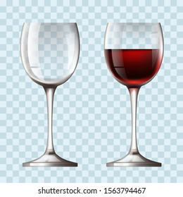 Empty and full realistic wineglass concept. Vector flat graphic design illustration