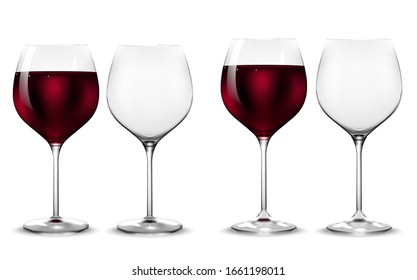Empty and full transparency wine glass. Vector.