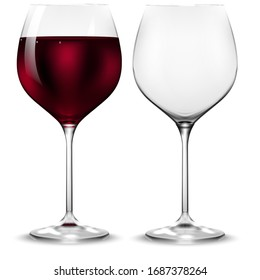 Empty and full transparency wine glass. Vector