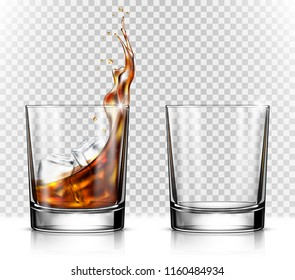 Empty and full whiskey glass with ice cubes