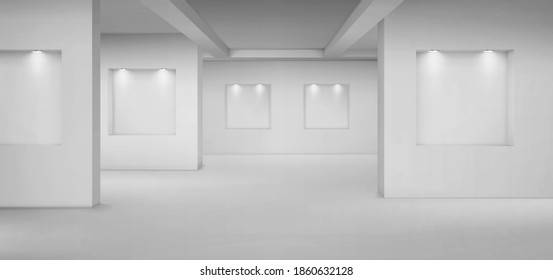 Empty gallery with empty niches with spotlights. Vector realistic interior of museum or studio room with shelves illuminated by lamps. Template for artwork exhibition