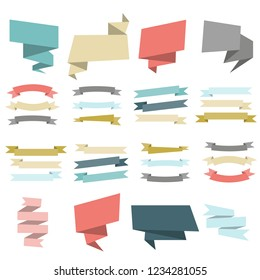 Empty geometric ribbon and banners set vector illustration