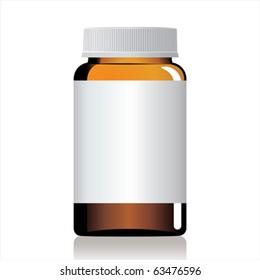 An empty glass bottle of pills.