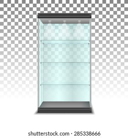 Empty glass cabinet with shelves, vector