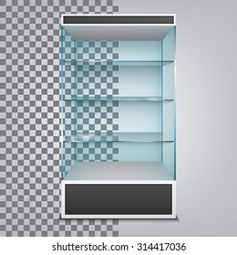 Empty glass cabinet with shelves. Vector Illustration