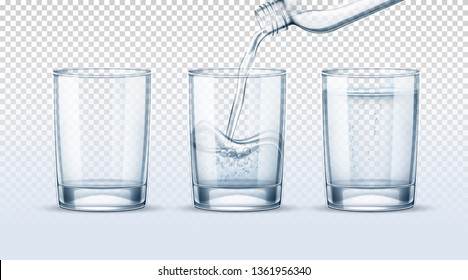 Empty glass cup, full one and water pouring into realistic glass cup from plastic bottle on transparent background set. Purified or mineral water advertising, package vector design.