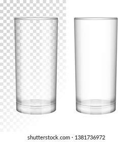 empty glass cup. realistic style. vector illustration. isolated on white. transparent. for advertising and menus of cafes and restaurants.
