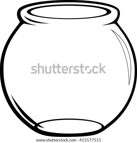 Empty Glass Fish Bowl Stock Vektorgrafik Lizenzfrei 415577515