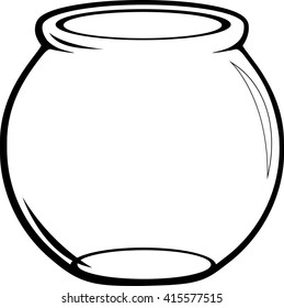 empty glass fish bowl black and white vector illustration