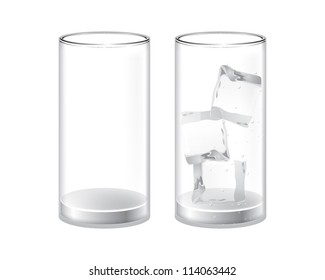 empty glass and a glass with ice