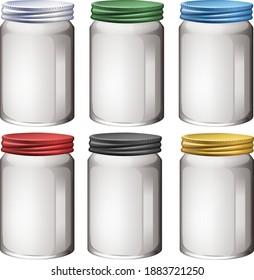 Empty glass jar on white background illustration