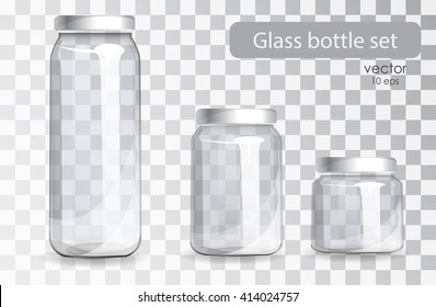 Empty glass jars of different sizes on a transparent background. Set of cans for drinks and juices. The new packaging design. Containers for diet drinks