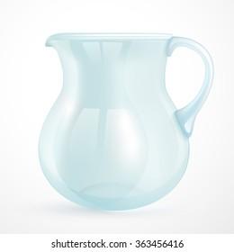Empty glass jug, realistic, 3D. Vector.