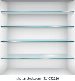 Empty glass shelves on wall. Vector Illustration