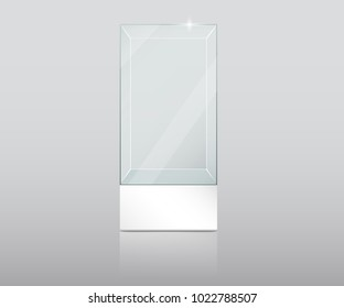 Empty Glass Showcase in Cube Form. Empty transparent glass cube