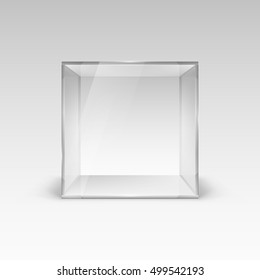 Empty Glass Showcase in Cube Form. Illustration on White Background