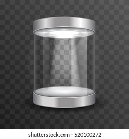 Empty glass showcase for museum exhibition on transparent background. Mockup object in form cylinder, vector illustration
