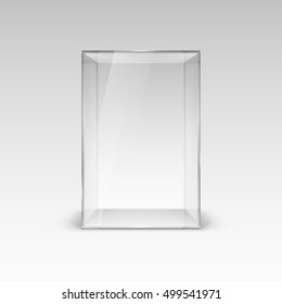 Empty Glass Showcase for Presentation. Illustration with Shadow on White