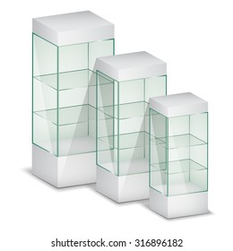 Empty glass showcases. Vector Illustration