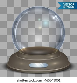 Empty glass snow globe vector template with transparency. Traditional Christmas gift eps10 layered template.