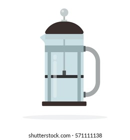 Empty glass teapot with piston vector flat material design isolated on white