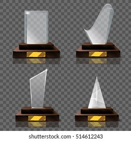 Empty glass trophy awards vector set. Realistic and Glossy transparent trophy or statue for award illustration. Promotion objects or gifts set.