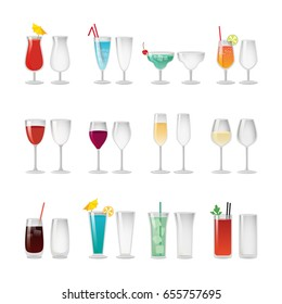 Empty glasses and full of red or blue wine and cocktails with ice, colorful straws, tasty fruits or herb and small umbrellas vector illustrations set.