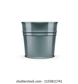 Empty Glossy Metal Bucket Isolated On White Background. EPS10 Vector