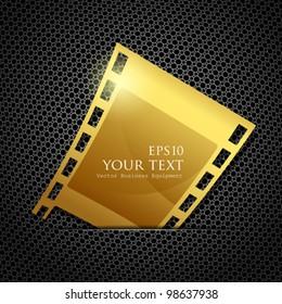 Empty gold camera film roll, vector illustration
