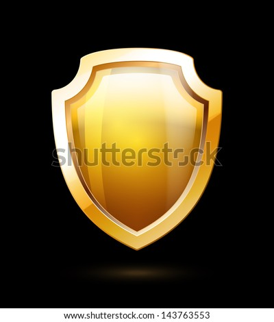 Empty Gold Shield isolated on black background