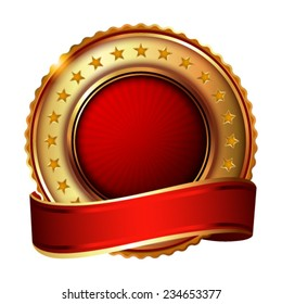 Empty golden label with ribbon. Vector illustration.
