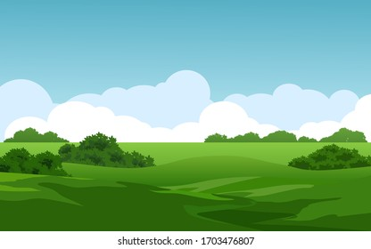Empty green field on sunny day