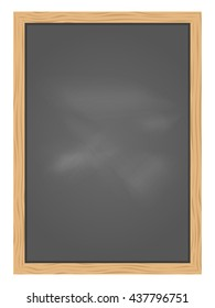 Empty Green school chalkboard background texture with frame vector. Template for your design.