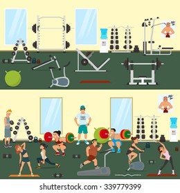 empty gym with exercise equipment. People engaged in the modern gym. vector.
