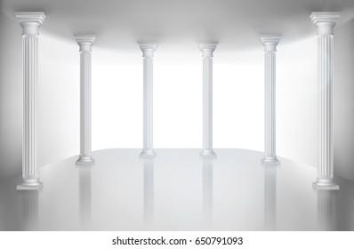 Empty hall with column. Vector illustration.