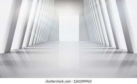 Empty hall with large windows. Interior illuminated by the rays of the sun. Vector illustration.